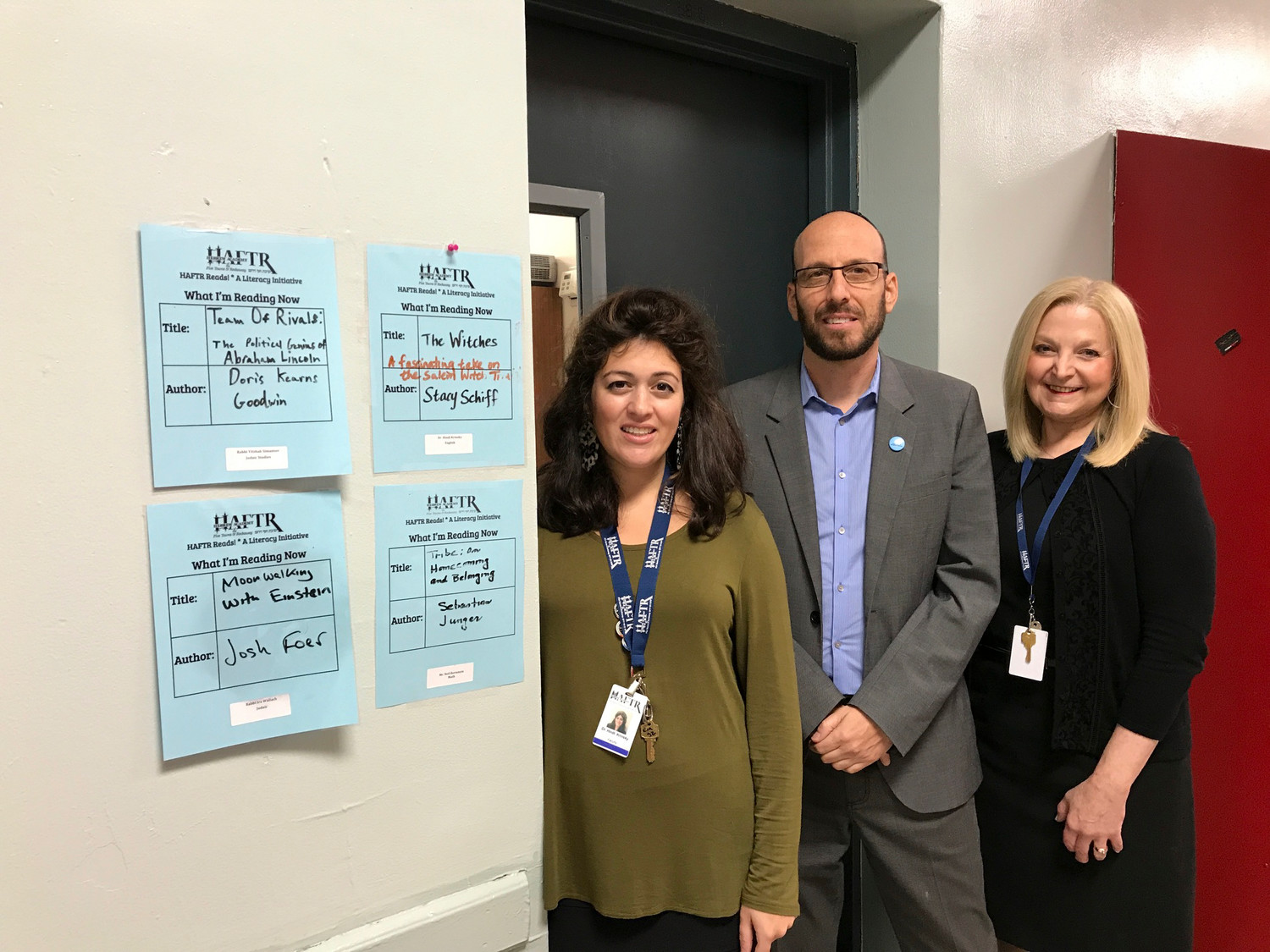 HAFTR High School began a new literacy initiative to raise the critical-thinking skills of its students. From left were Dr. Hindi Krinsky, literacy coordinator; Jason Gelman, social studies chairman; and Naomi Lippman, general studies principal.