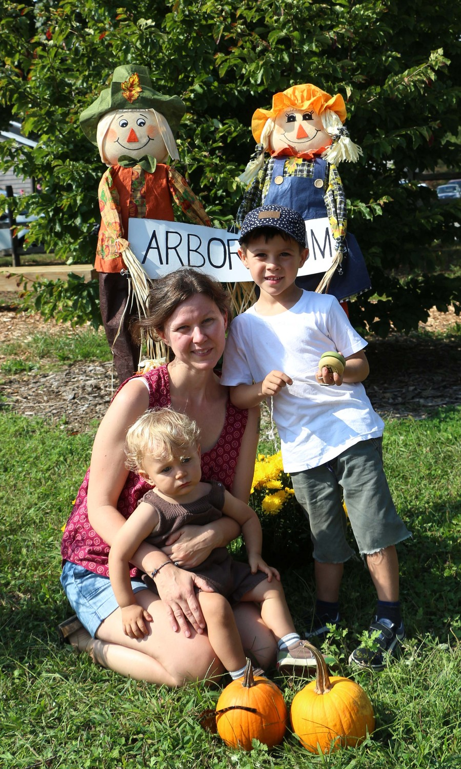 Leigh Augustine enjoyed a day in the pumpkin garden with her sons Asa, 5, and Forrest, 1.