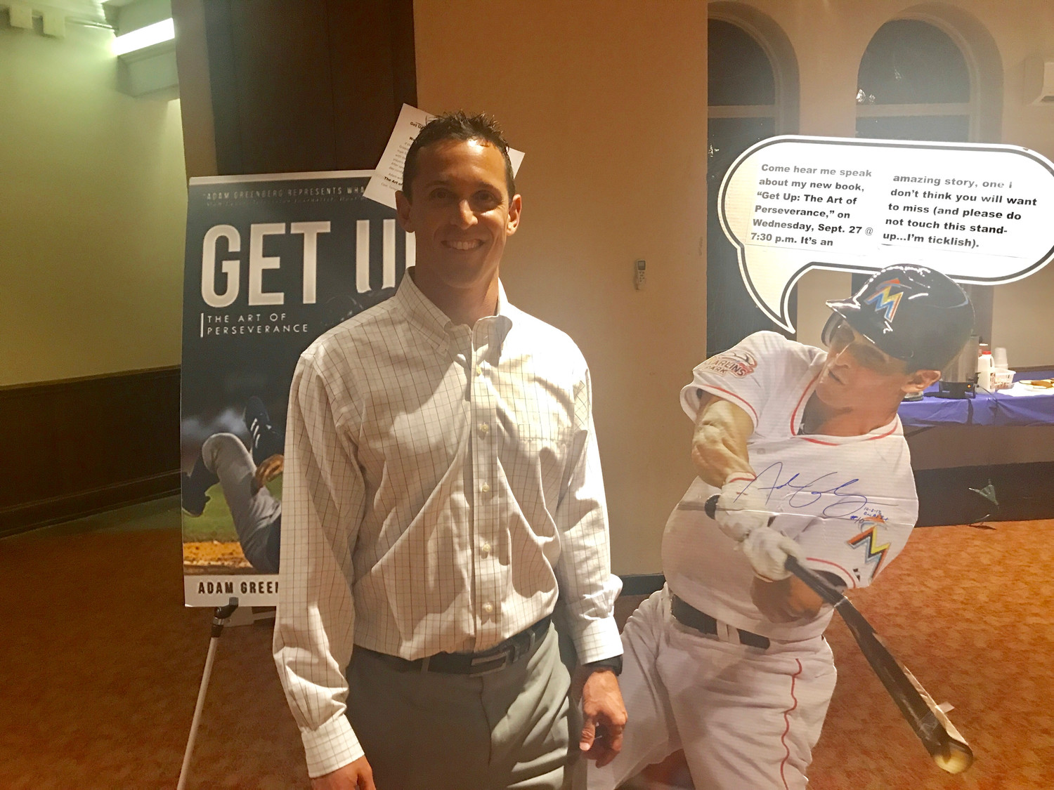 Adam Greenberg spoke about his short-lived major league baseball career and continuing to pursue your dreams at Temple Israel of Lawrence on Sept. 27.
