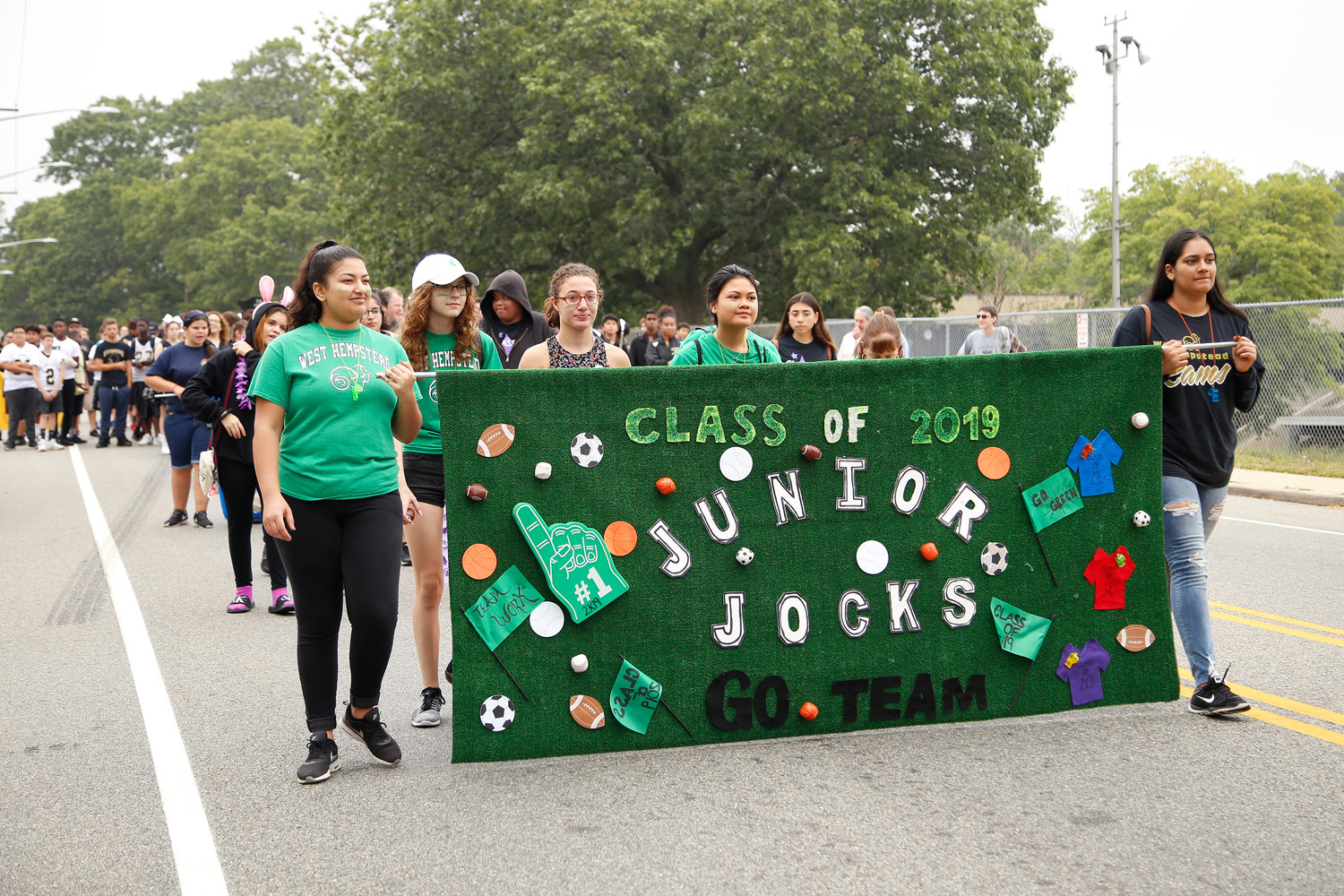 Junior Jocks donned bright green colors as they marched on.