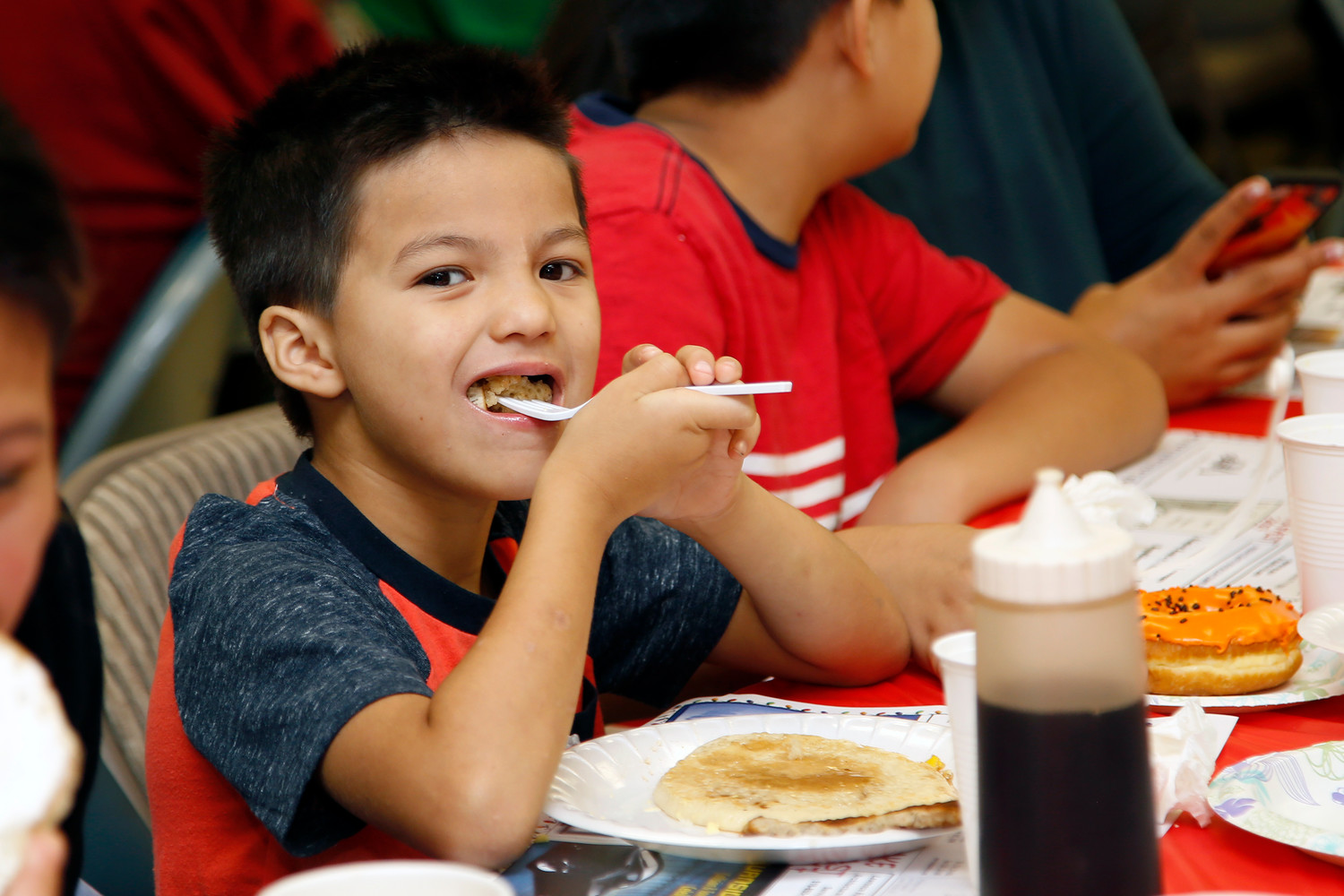 Luca Duran, 7, might have taken a bigger bite of his pancake than he expected.