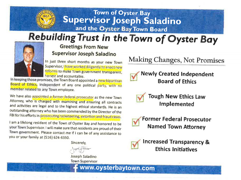 The lawsuit alleges that this mailer, sent out by the Town of Oyster Bay, has the same information as Supervisor Joseph Saladino's campaign website.
