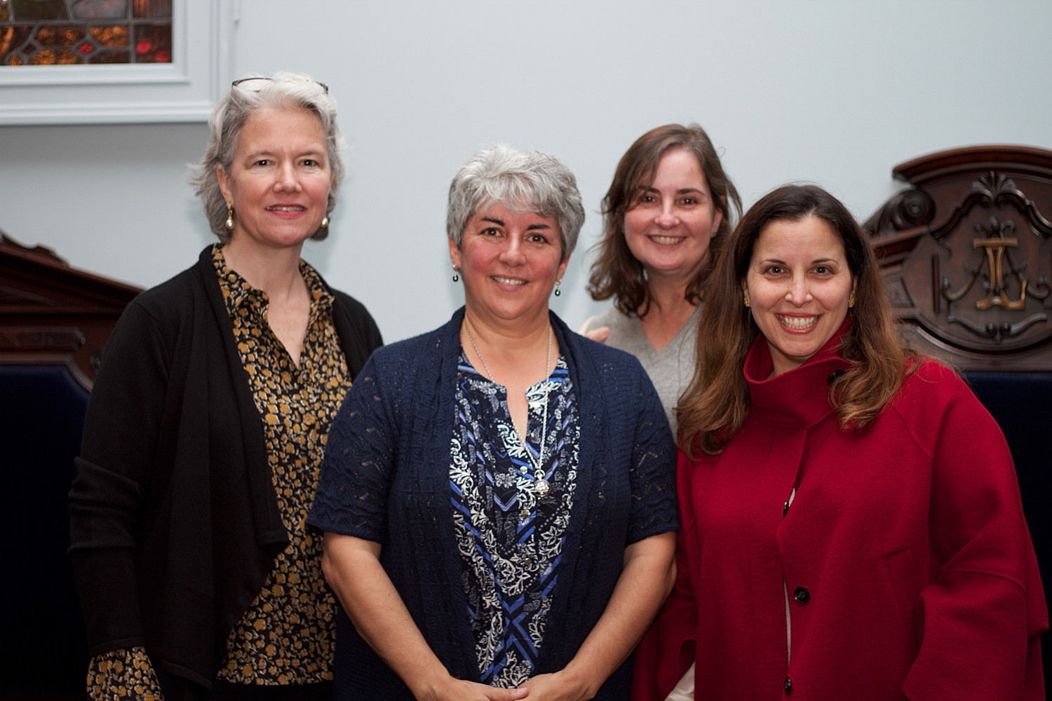 Raynham Hall's Harriet Gerard Clark, far left, joined historian Claire Bellerjeau and Theresa Skvarla and Kristen Jones at a lecture about Solomon Townsend.