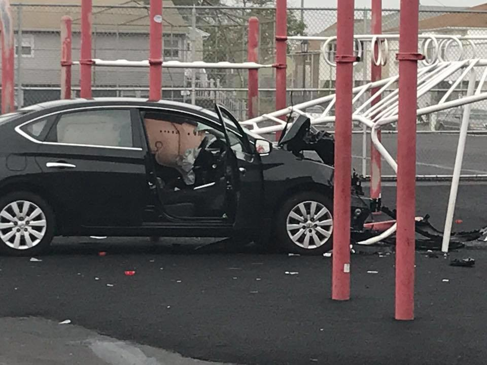 An elderly man drove through a fence and into the East Elementary School playground on Sunday morning, fire officials said.