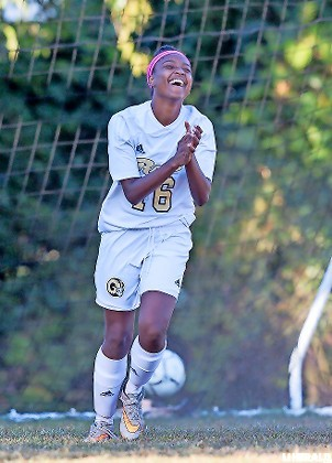Junior Chelsea Pierre-Louis celebrated after scoring in West Hempstead's 2-2 draw with Jericho in a Conference AB-3 game on Oct. 2.