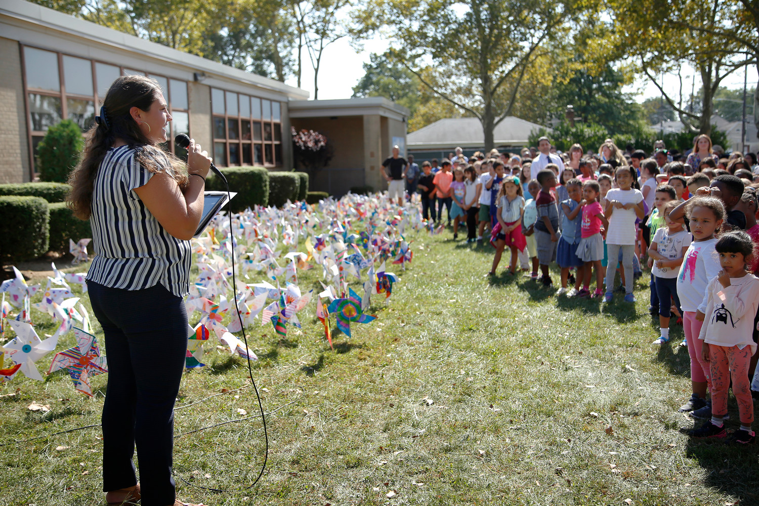 Art teacher and organizer of the event, Nicole Barci, thanked the children for the pinwheels they made on Sept. 25.
