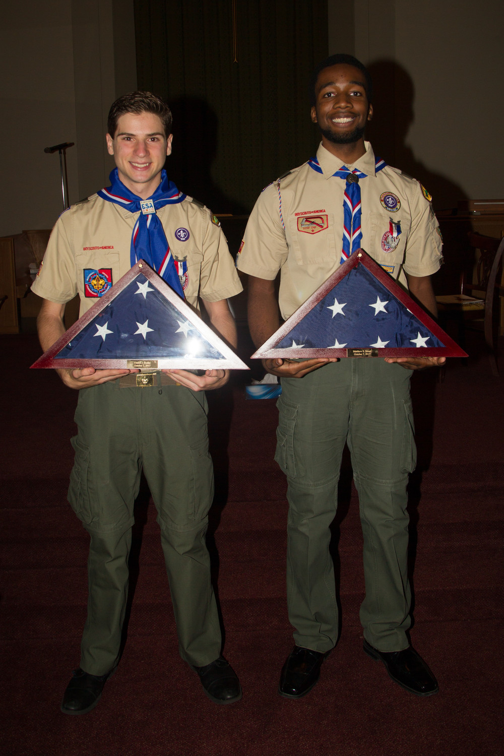 Valley Stream's newest Eagle Scouts Daniel Bosko, left, and Matthew Smart. The two accepted their medals on Oct. 7.