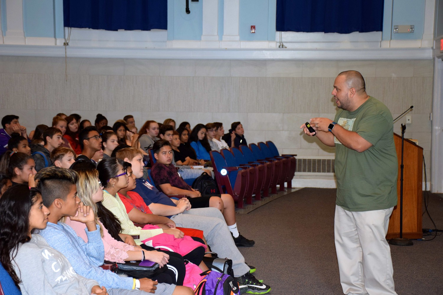 Motivational speaker Sergio Argueta, the founder of Struggling to Reunite Our New Generation Youth Inc., visited East Rockaway Junior-Senior High School for Respect Day on Sept. 29.