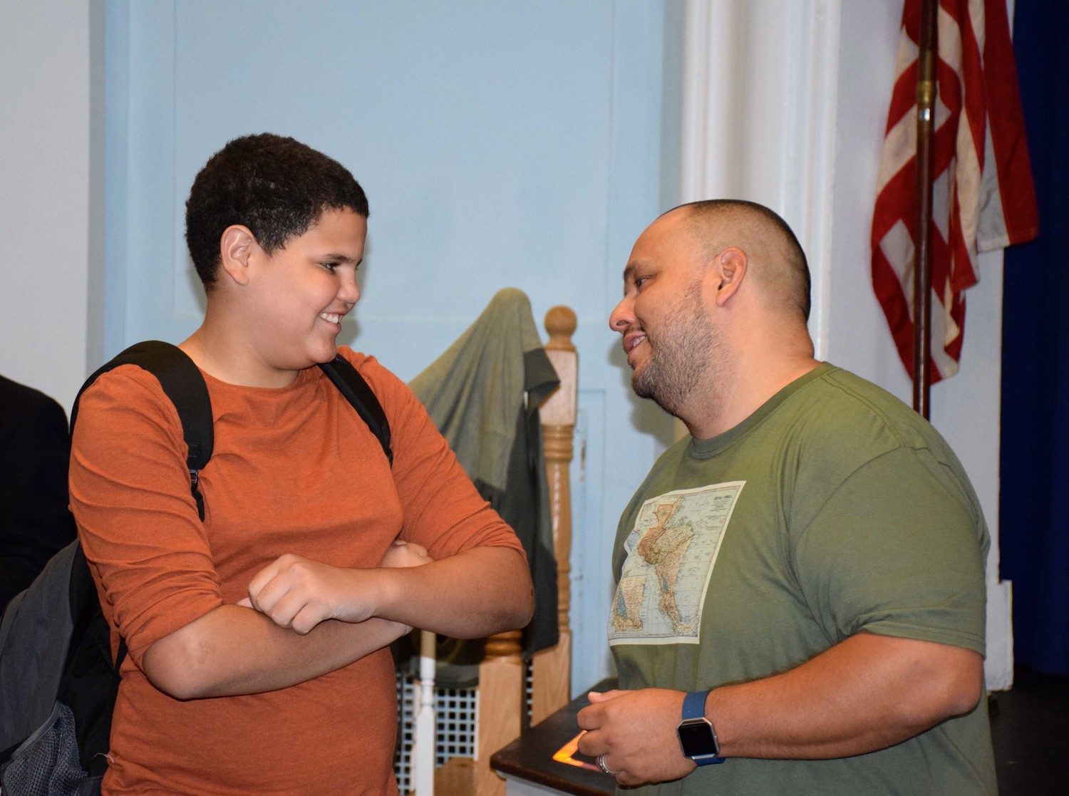 Seventh-grader Edward Abreu Lopez thanked Argueta after his speech.