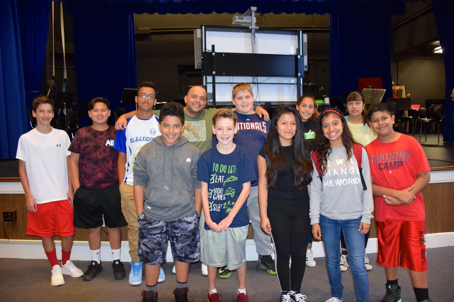 East Rockaway Junior-Senior High School students were all smiles after meeting Argueta.