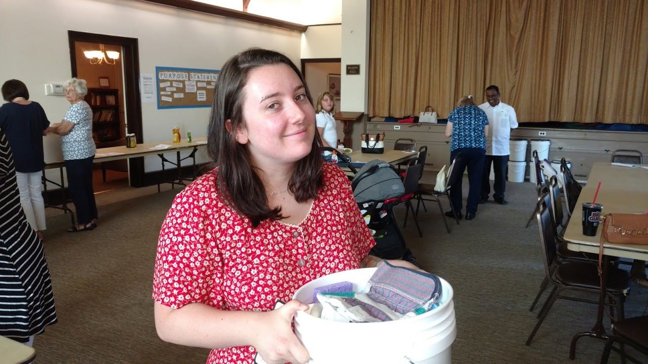 Catherine Dunne assembled a bucket filled with emergency supplies last month.