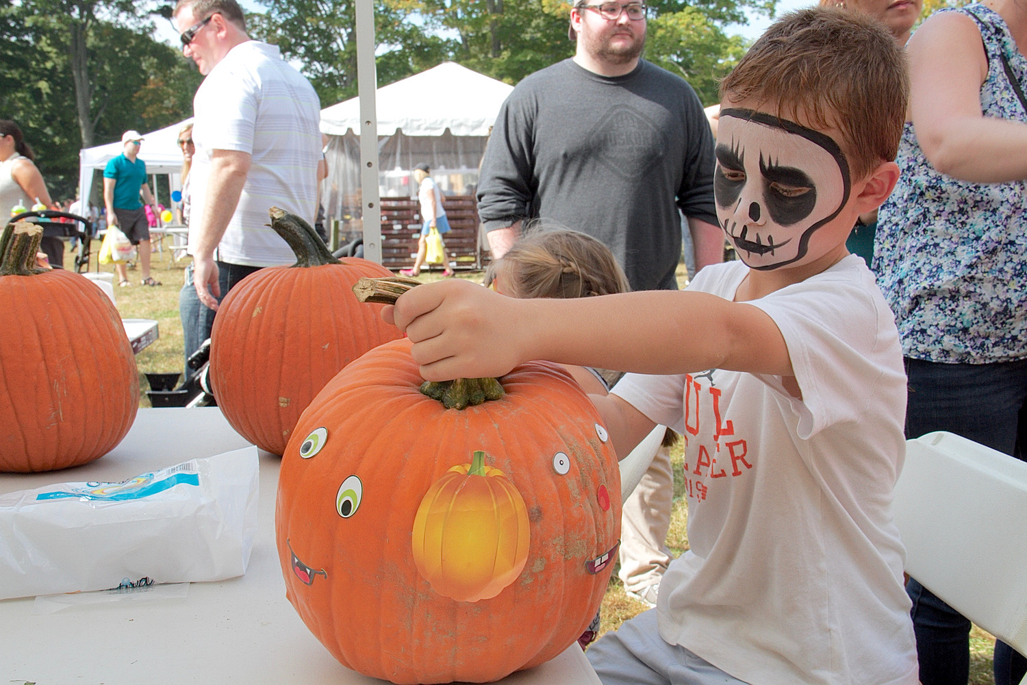 Edward Albano, 8, decorated a pumpkin.