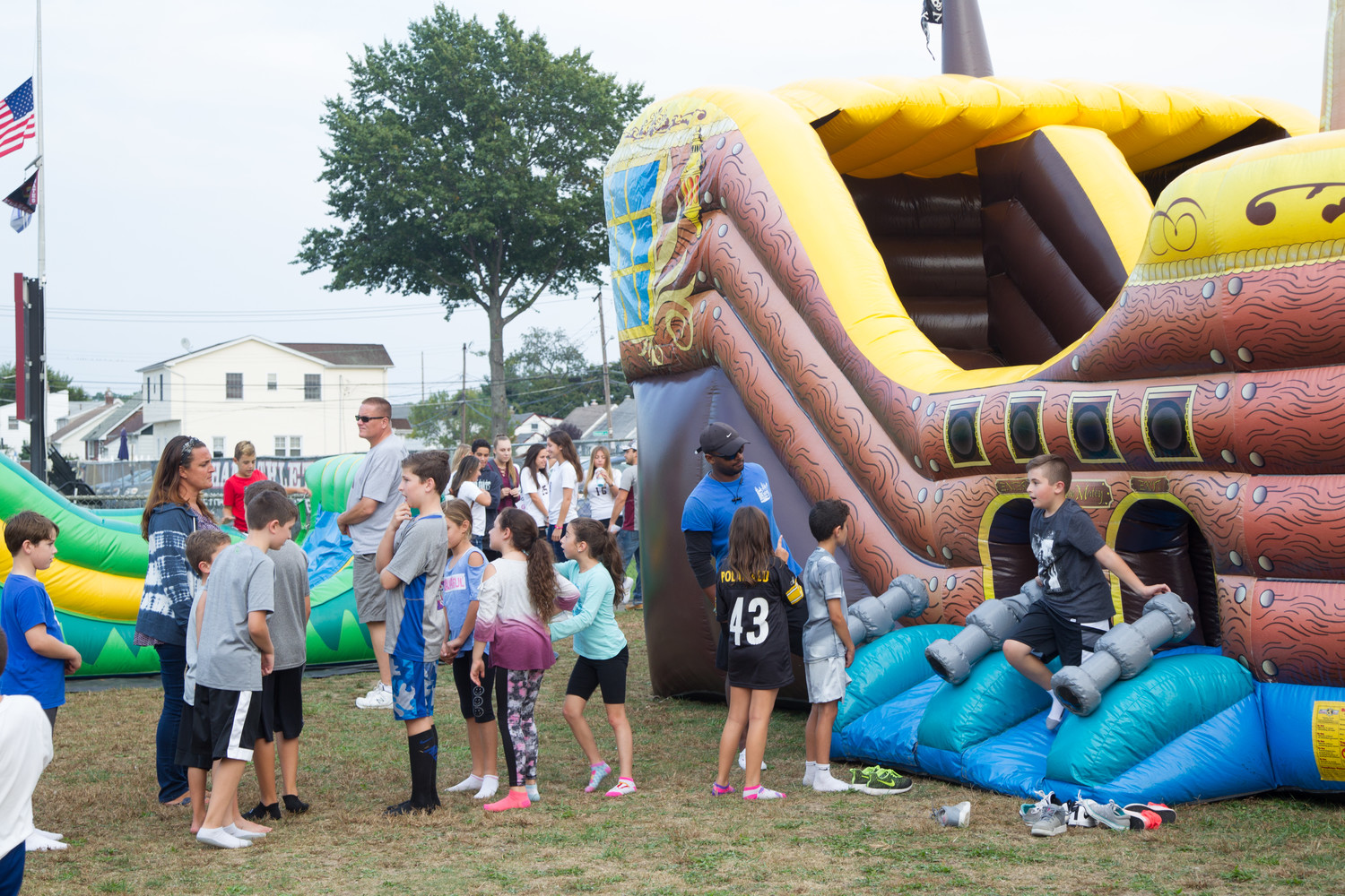 A bouncy house was on-hand for younger participants in the homecoming celebration.