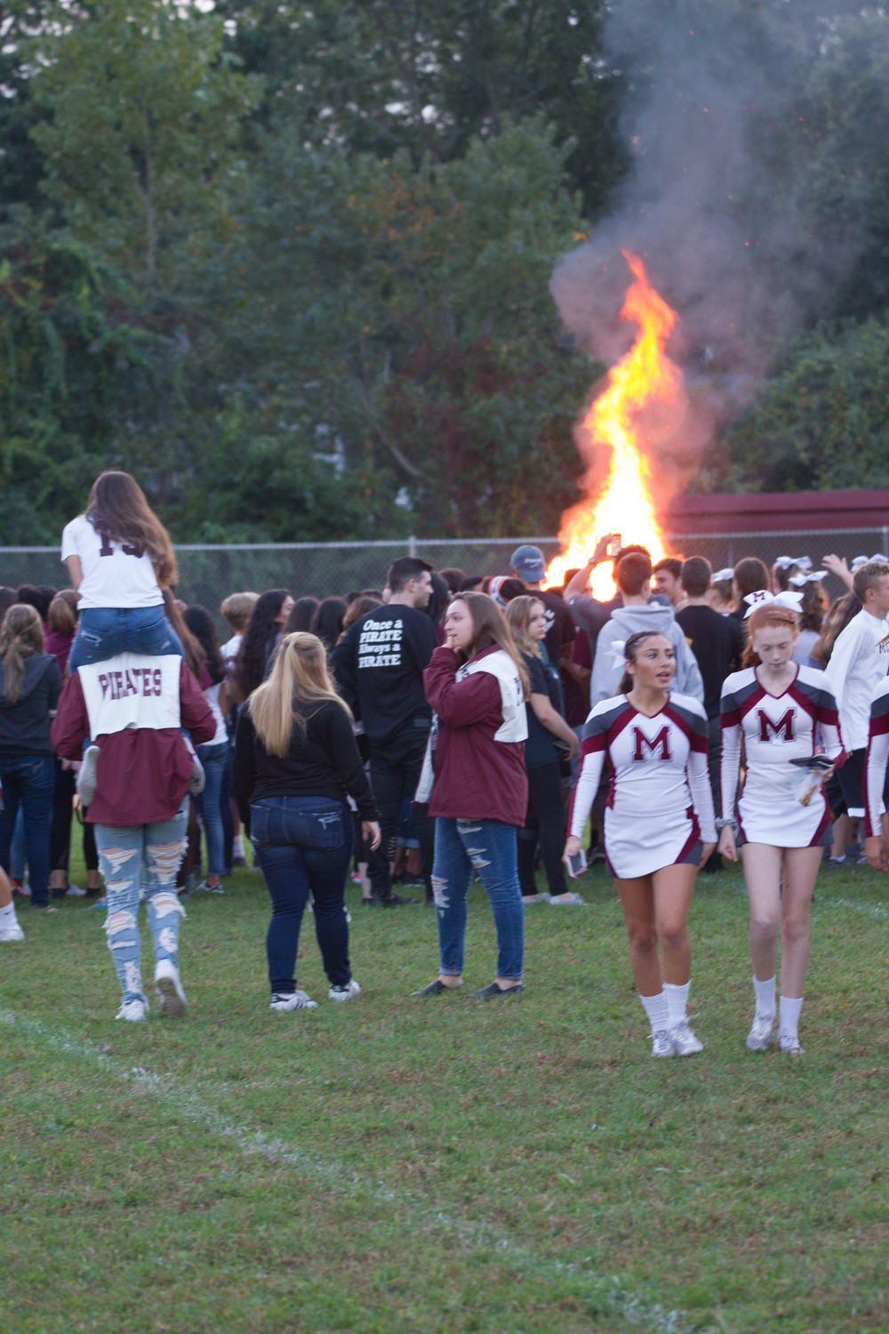The traditional bonfire was held before Friday night's game.