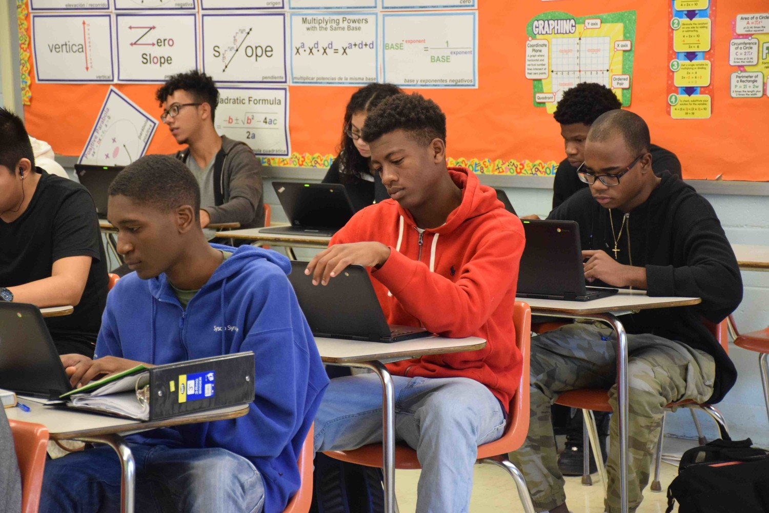Freeport high school students used their new Chromebooks during class to access assignments and submit homework.