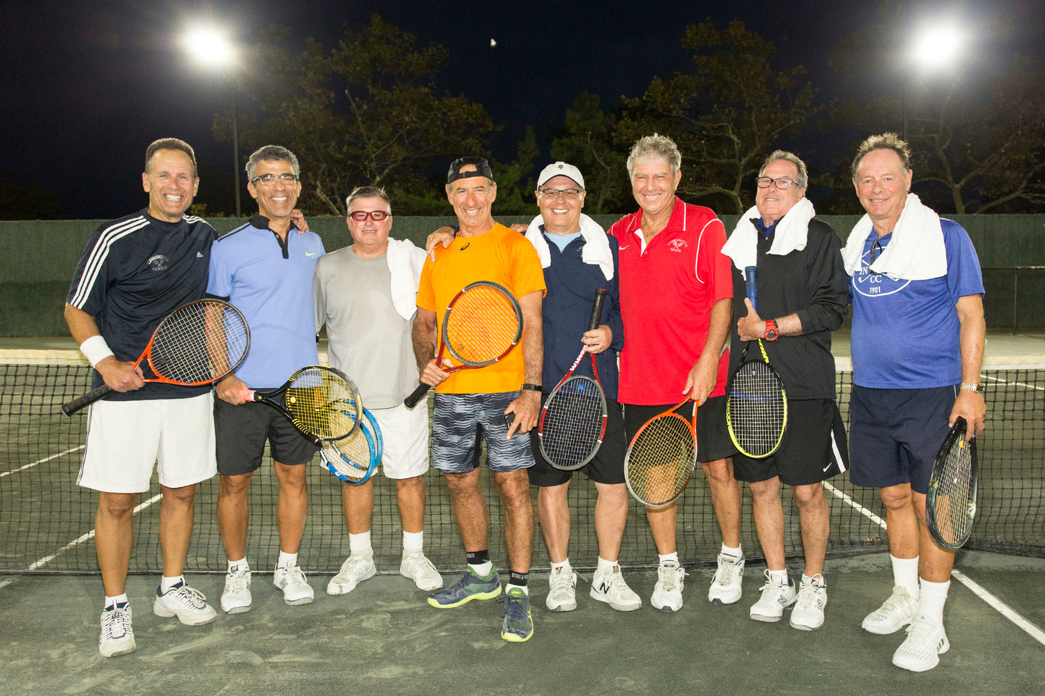 Lawrence senior men's tennis won its league title. From left were Alan Smagler, Gary Adler, Paul Wilson, Ron Jackson, Bobby Tehel, captain Barry Straus, Gary Post and Stu Schor.
