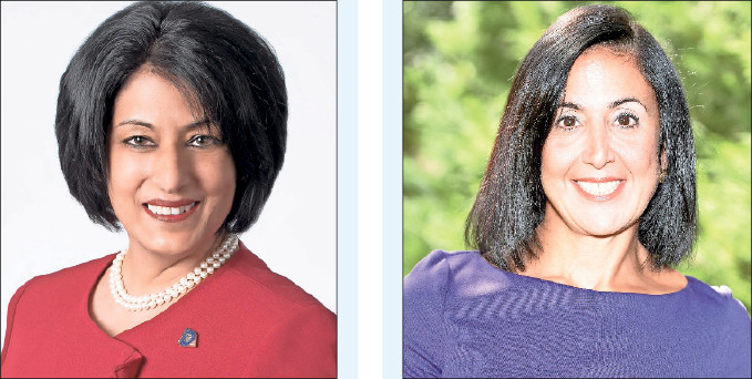 Incumbent Nasrin Ahmad, left, will face off against newcomer Sylvia Cabana for the seat of Hempstead Town clerk.