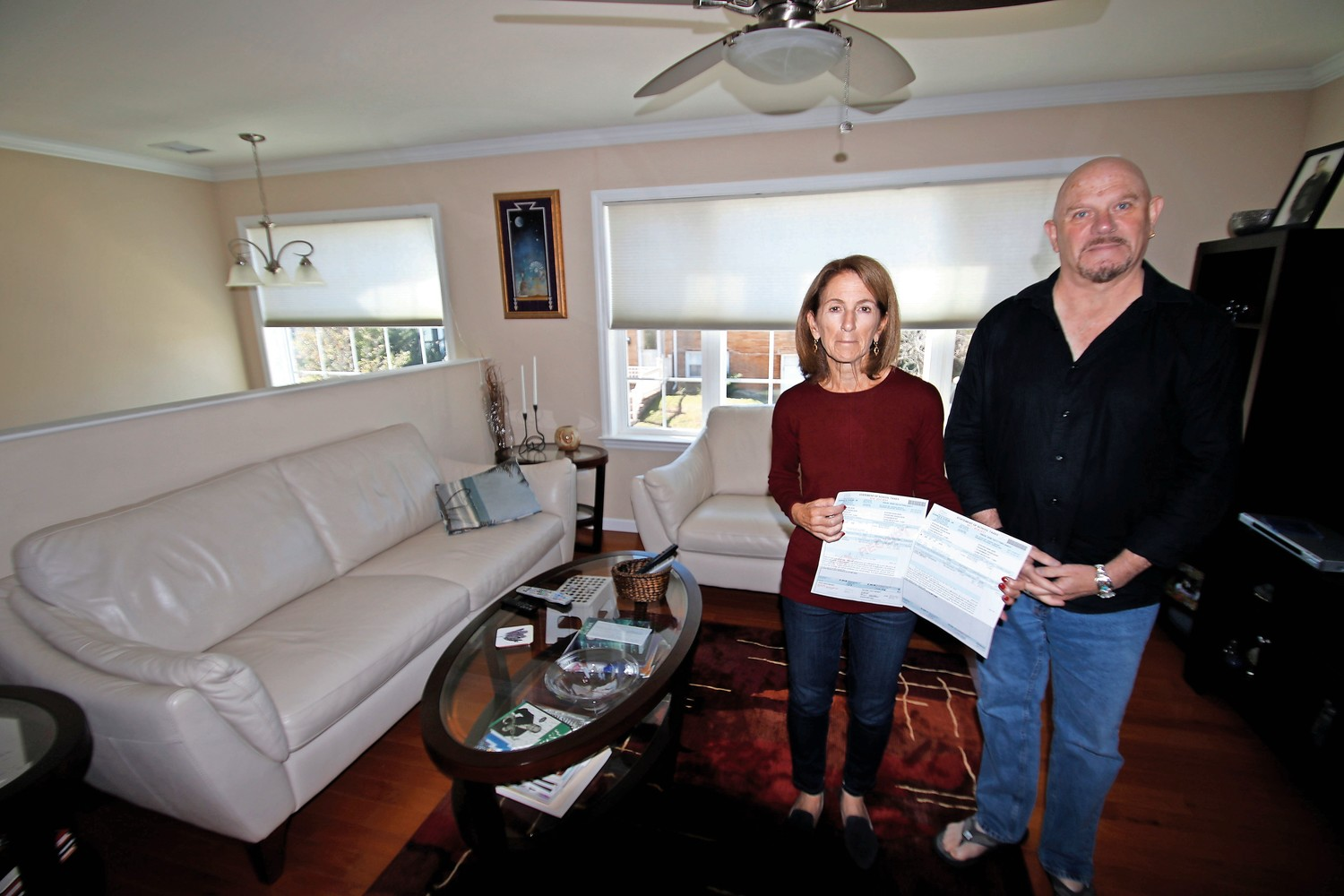 Fran and Steve Adelson were among the many residents who were shocked when they opened their school tax bills last week. The Adelsons were required to completely rebuild their Sandy-damaged home. Its square footage did not increase, they said, but their taxes doubled.
