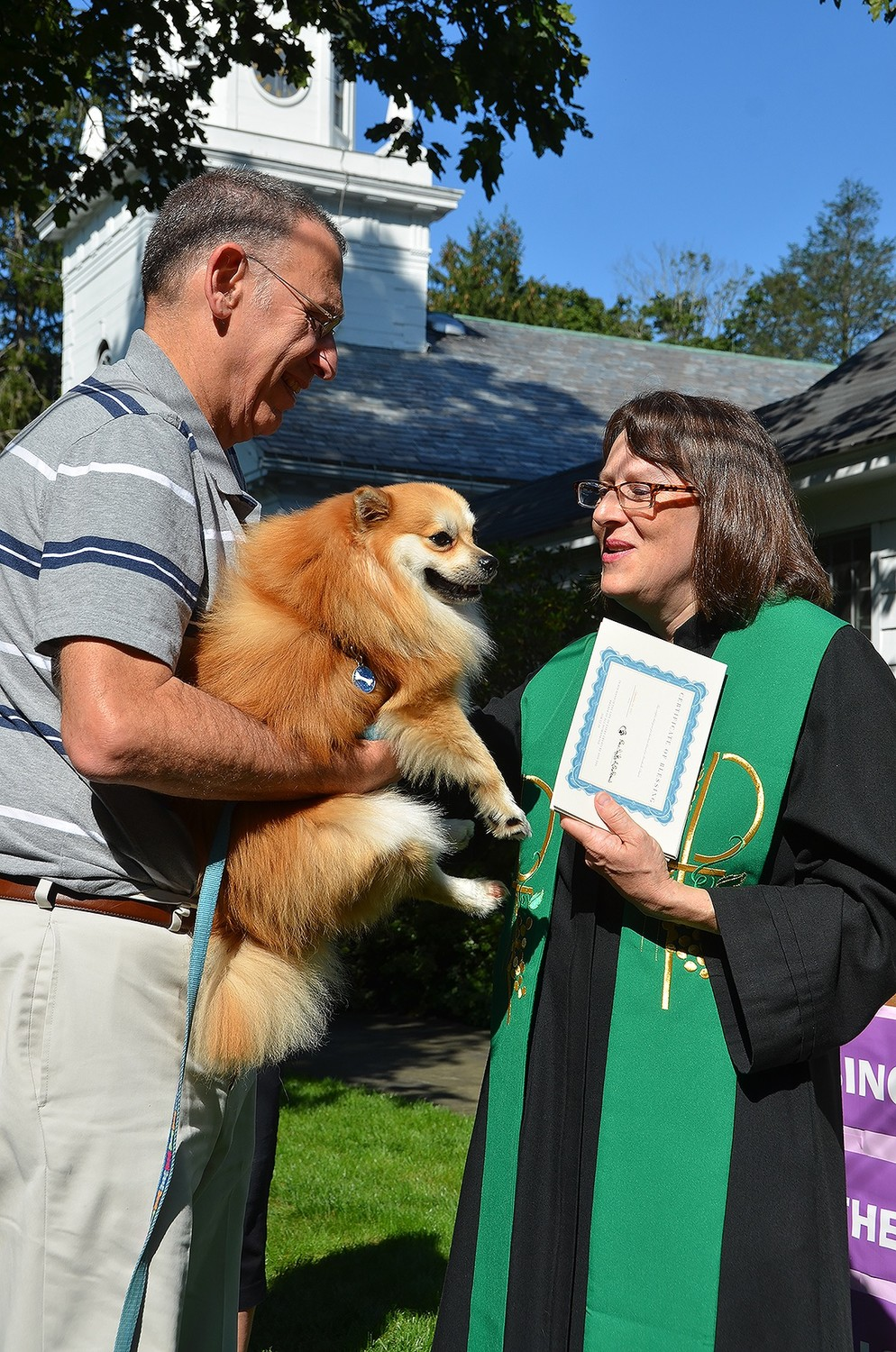 Robert Schonfeld brought his dog Mr. Bentley to the Blessing of the Animals at Brookville Church on Sept. 24.