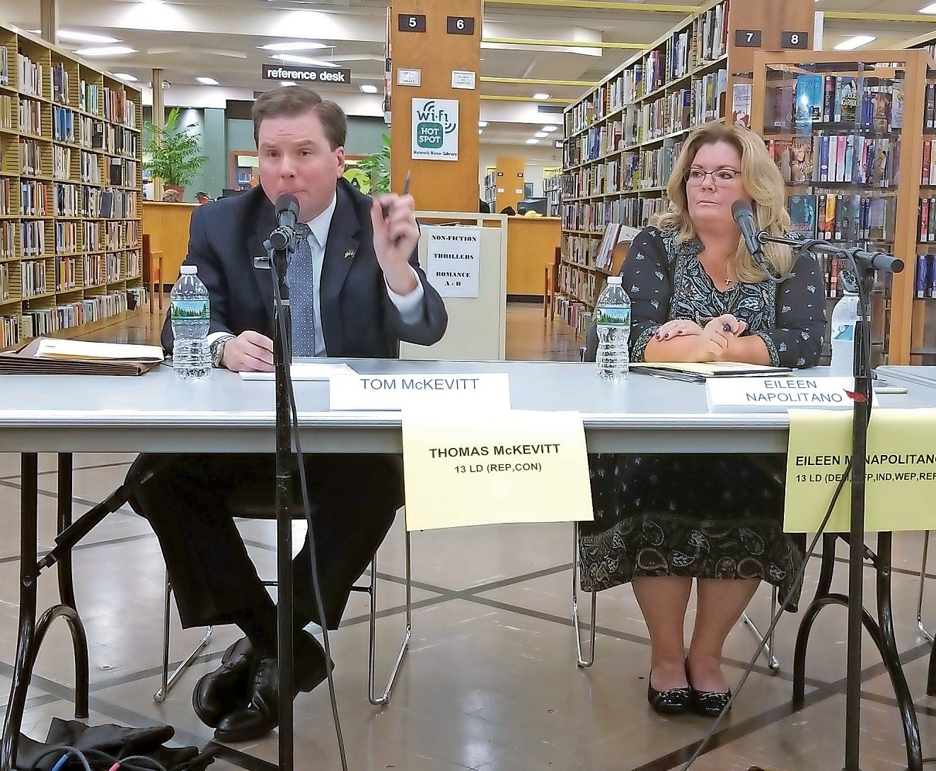 Assemblyman Thomas McKevitt and Eileen Napolitano answered questions at a candidates forum hosted by the League of Women Voters at the East Meadow Public Library on Oct. 11.