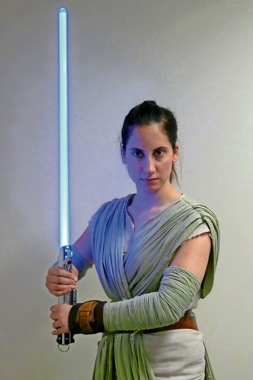 Lisa Giunta dressed as Rey, the last Jedi Warrior, as she prepared for battle for the Resistance.
