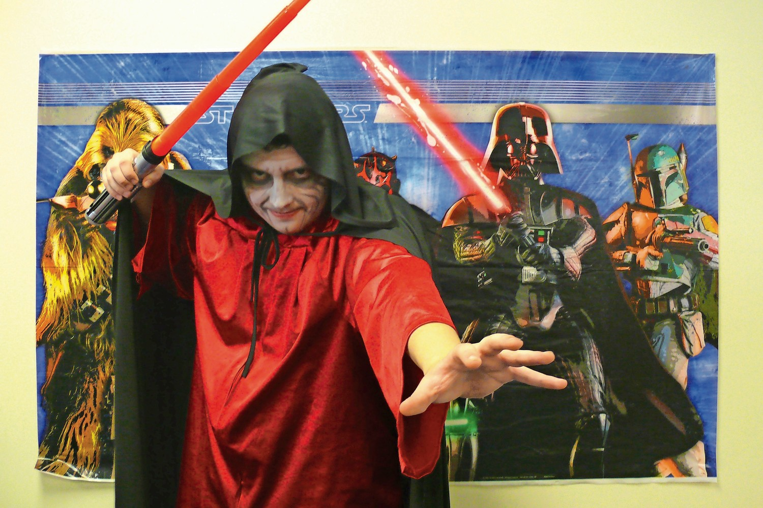 Fourteen-year-old James Licht, of East Meadow, dressed as the Emperior Palpatine.