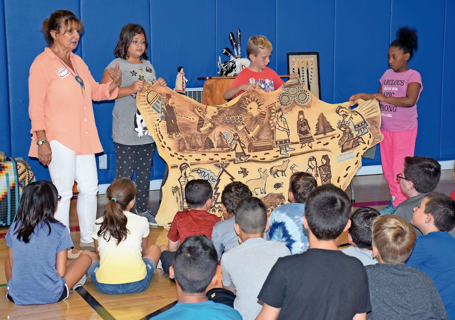 Guided by Journeys into American Indian Territory presenter Maddi Cheers, Parkway Elementary School fourth-graders learned about how the Iroquois government formed.