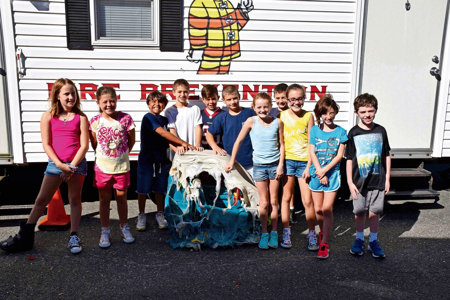 Lee Road Elementary School fourth-graders in Jackie Katz-Rabinoff's class practiced fire safety in a Smoke House on Sept. 28.