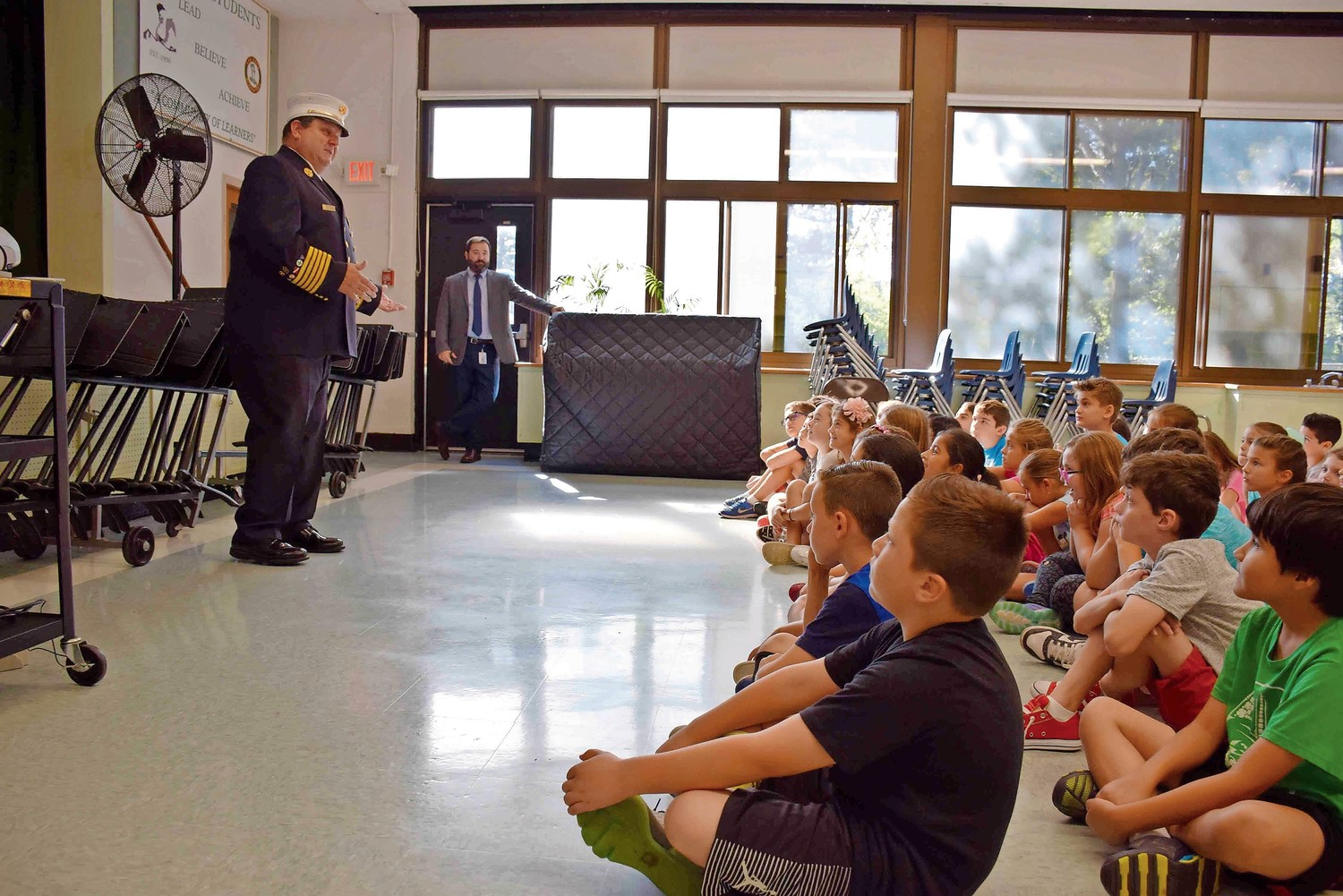 Wantagh firefighter John Loeber spoke to third, fourth and fifth-graders about what to do in a fire emergency.