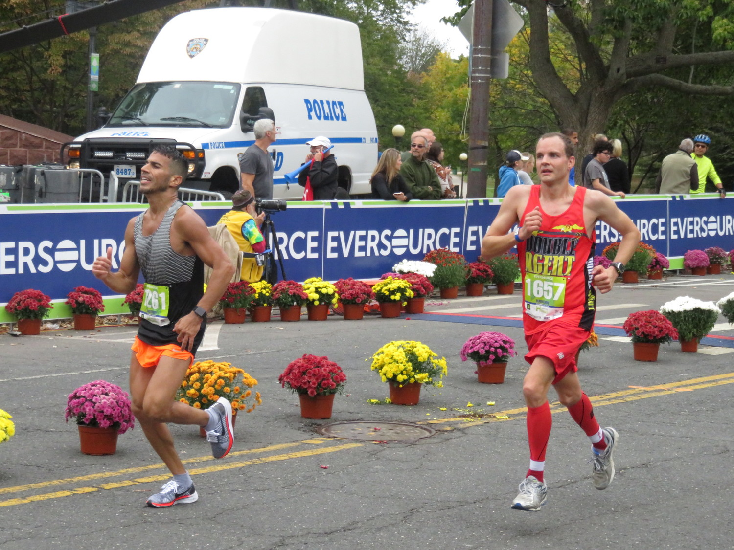 Randell Hansen, right, eyed the finish line at the Hartford Marathon on Oct. 14. Connecticut marked the 36th state in which Hansen has completed a marathon.