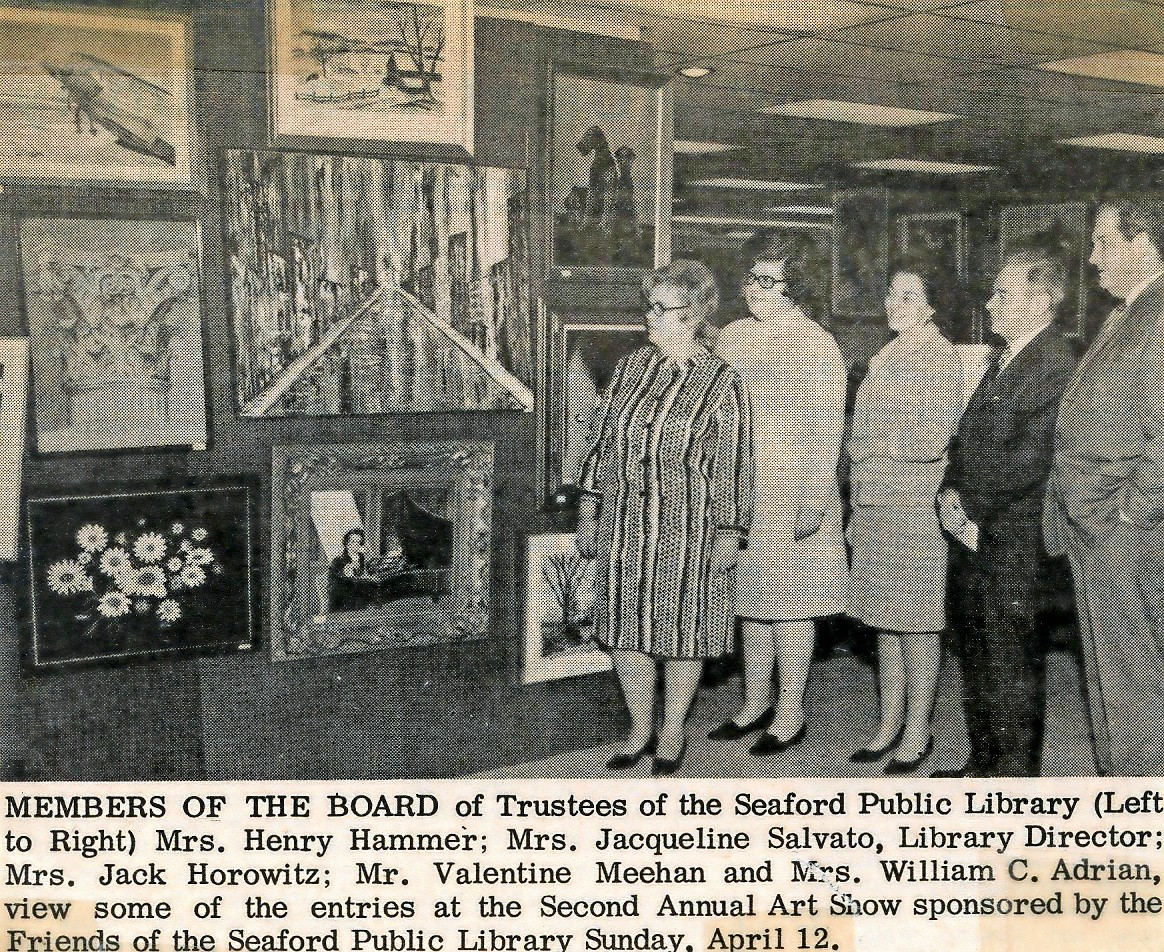 Seaford Library board members ­— including Henry Hammer, Jacqueline Salvato, Library Director Jack Horowitz, Valentine Meehan and William C. Adrian — viewed some of the entries in the second annual art show, which was sponsored by the Friends of the Library in the early 1960s.