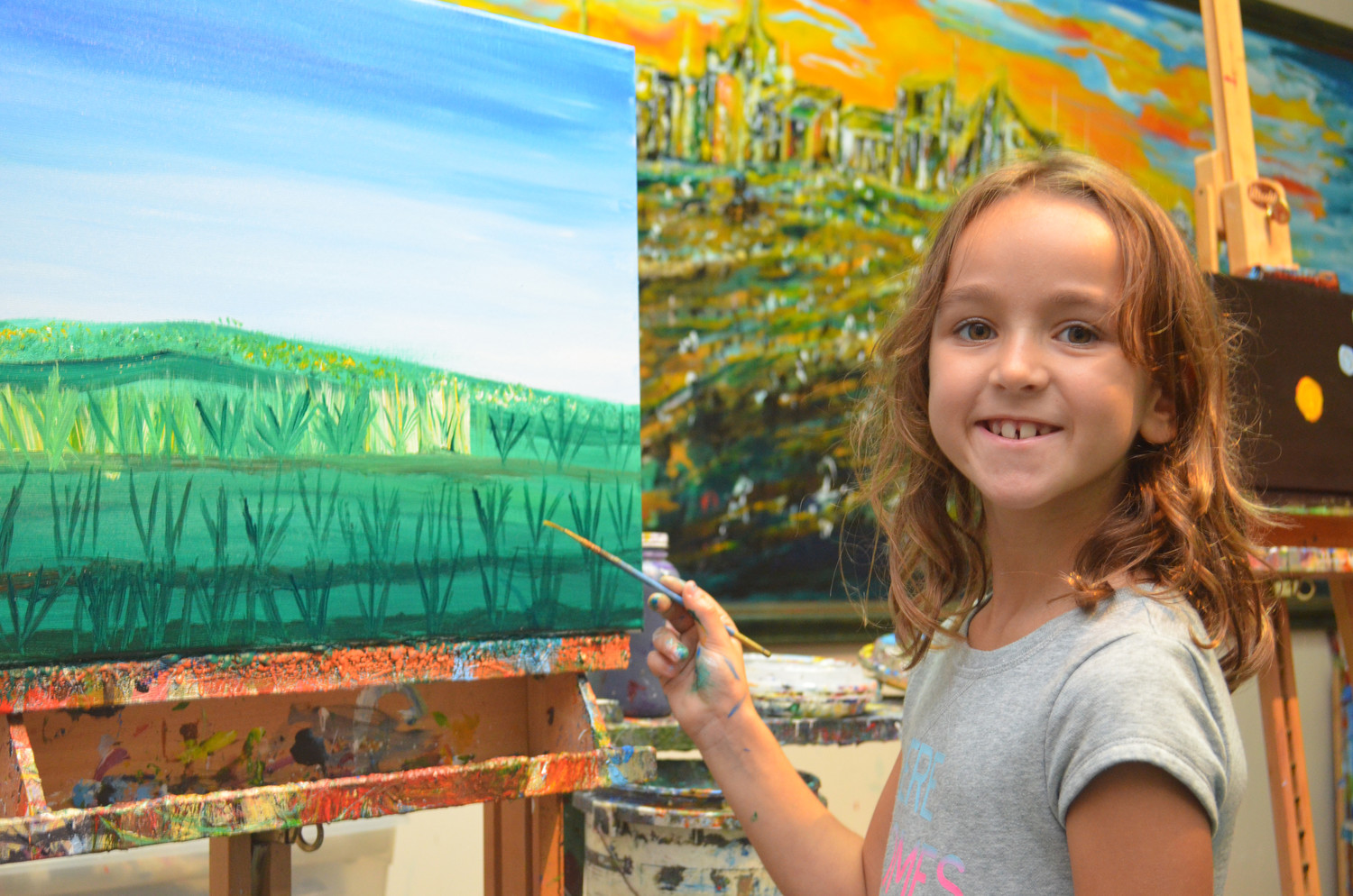 Veronica Chmiel, 6, painted a scene at the Creative Art Space for Kids in Lynbrook.