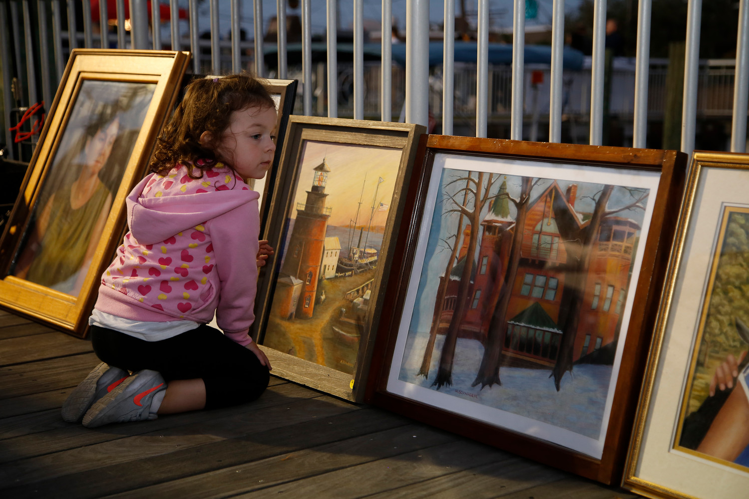 Georgia Vece, 5, showed her eye for art at the waterfront art walk in East Rockaway on Oct. 4.