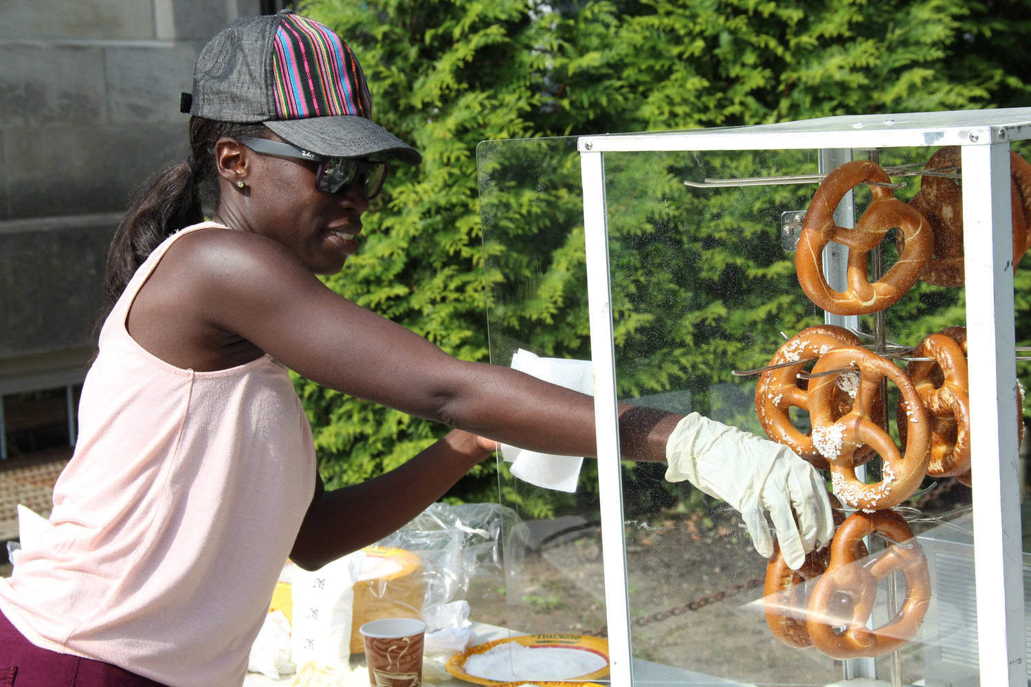 Librarian Michelle Samuel handed out the soft pretzels for attendees during festival.
