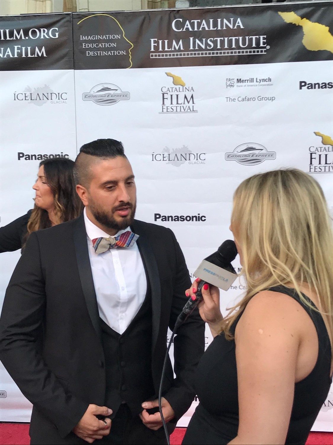 "After ""Rockaway"" received a standing ovation from the audience at the Catalina Film Festival, Budion and the young actors were interviewed on the red carpet."