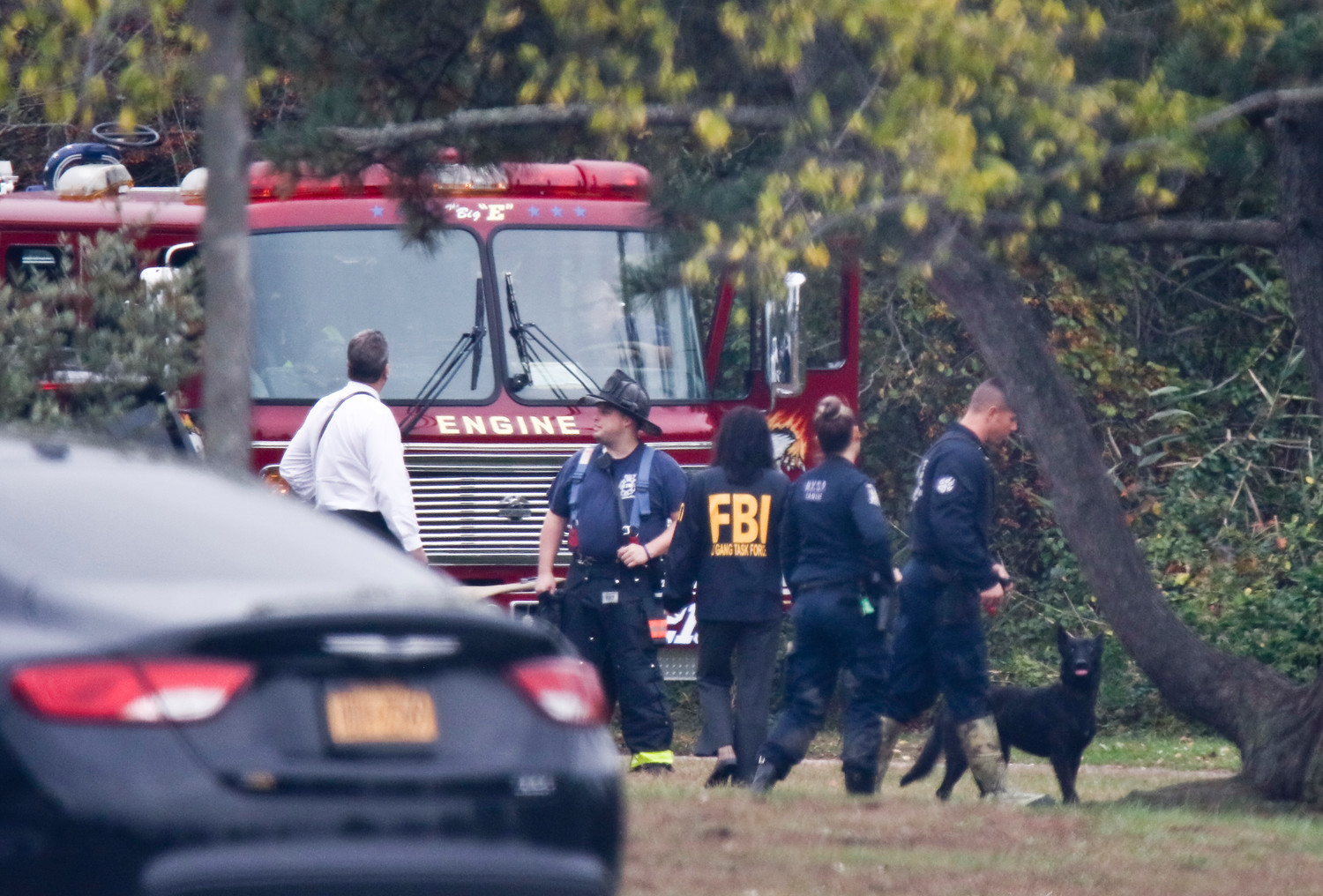 Nassau County police shut down Cow Meadow Park early on Wednesday as they searched for remains. The FBI Gang Task Force, Nassau County police K-9 units and State Troopers searched the woods in the park.