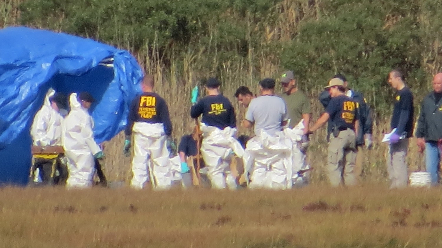 Crime Scene Investigators dug around the site of where the human remains were found on a wooded area in Cow Meadow Park in Freeport.