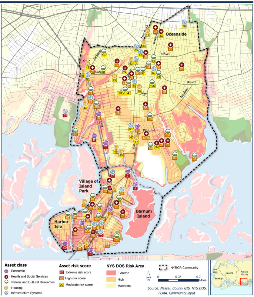 "A map of ""community assets"" — locations like parks, hospitals and government buildings — that are important to the area, and their ""risk scores"" of flooding."