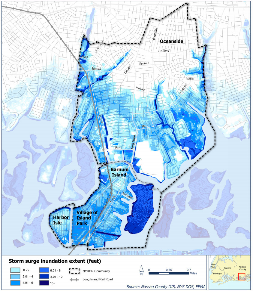 A map detailing how far inland and beyond the normal waterways the Sandy storm surge pushed.