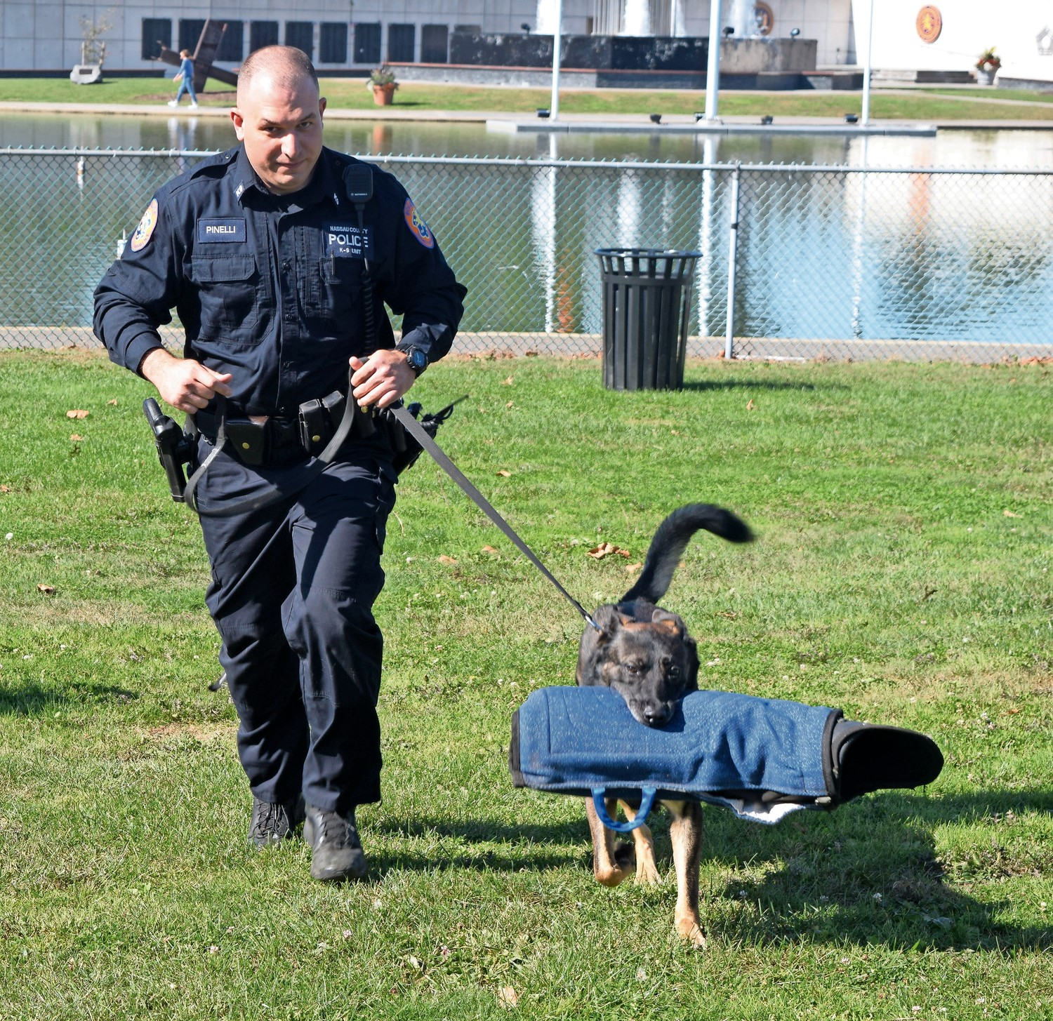 Seren, a Nassau County police dog, worked with handler Matthew Pinelli at the annual canine graduation at Eisenhower Park in East Meadow on Oct. 18.