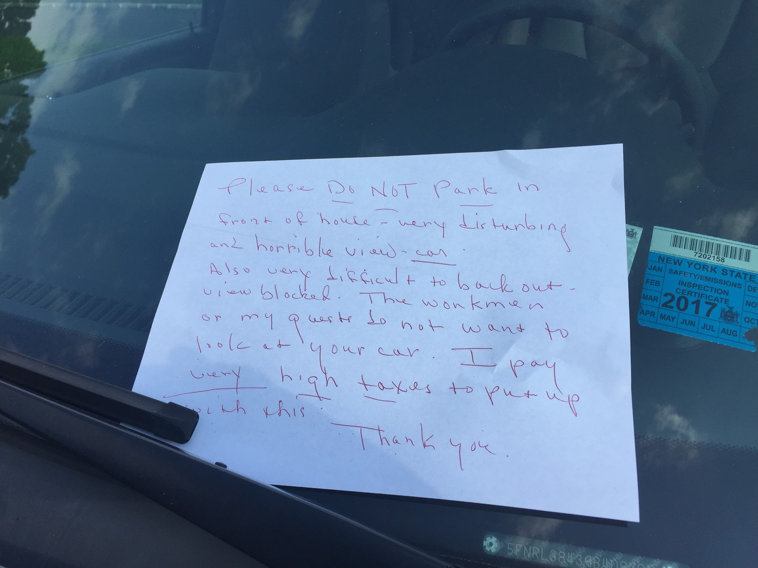 Angry residents have left notes, such as the one above, on cars parked legally on Bradford Court and Fountain Avenue