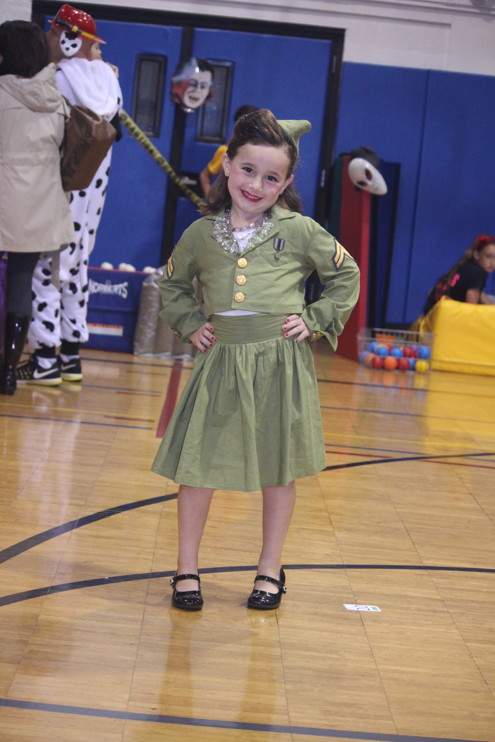 Six-year-old Hope Brugge struck a pose in her vintage Army girl costume.