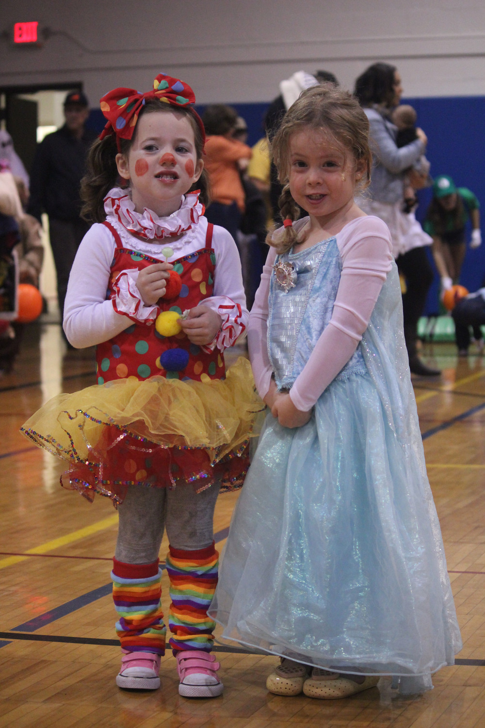 Four-year-olds Erin Kanfer, left, and Gabriella Pellicani enjoyed the activities.