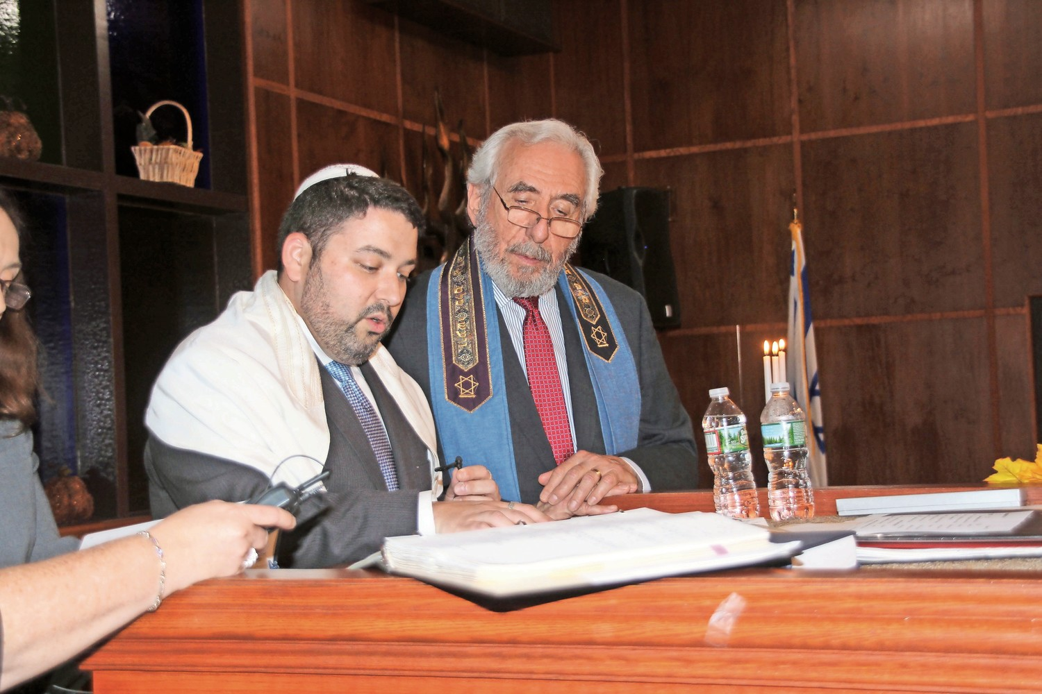 Rabbi Daniel Bar-Nahum, of Temple Emanu-El of East Meadow, and Rabbi Howard Nacht, of Temple B'Nai Torah, led the Simchat Torah services together.