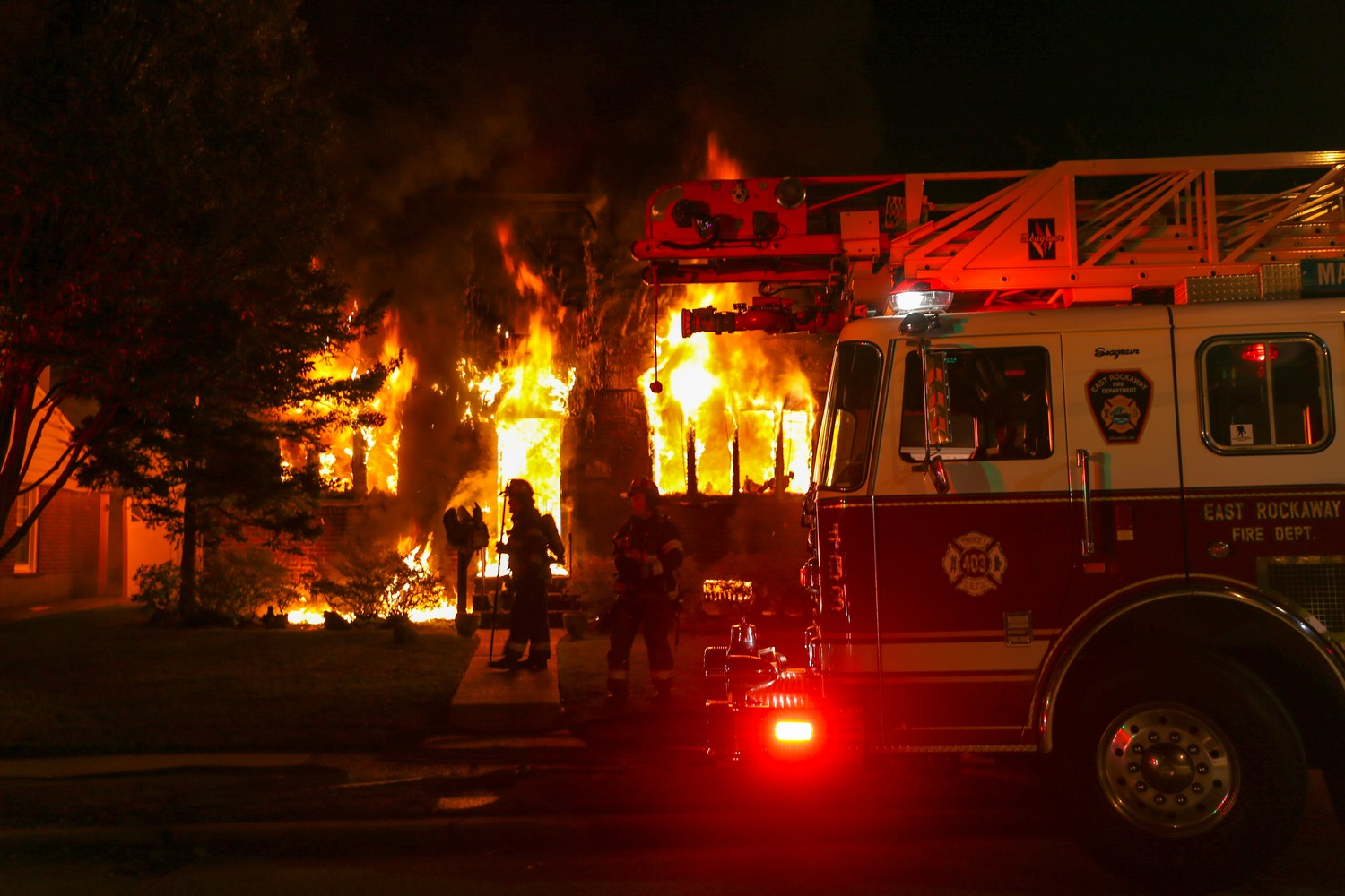 The East Rockaway Fire Department responded to the blaze at about 1:48 a.m., according to Chief Thomas Merkel Jr.