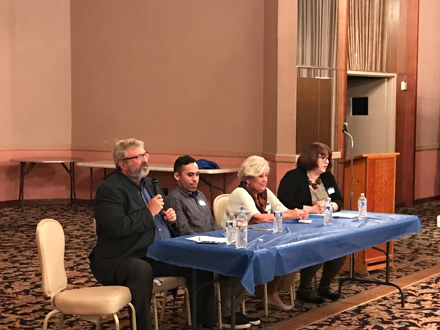 Patrick Young, Osman Canales, and Margarita Grasing spoke at a panel at Central Synagogue Beth Emeth. Liz Stack, right, moderated the discussion.
