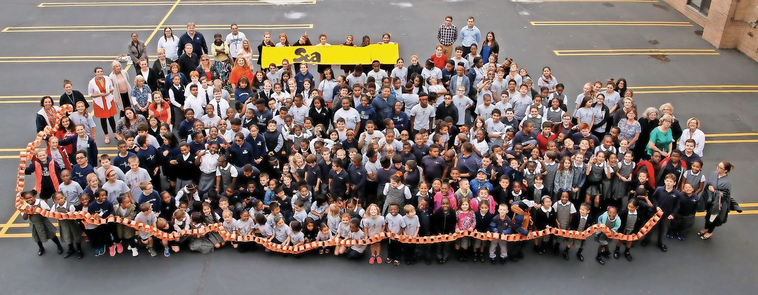 Students and faculty of St. Thomas the Apostle School showed their support for Liam O'Brien during their anti-bullying campaign on Oct. 25.