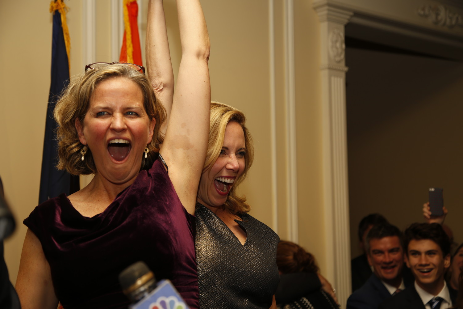 County executive-elect Laura Curran, left, the first woman ever to claim that title, celebrated with Laura Gillen, who also made history Tuesday night when she defeated incumbent Anthony Santino to become the first Democratic Hempstead town supervisor.