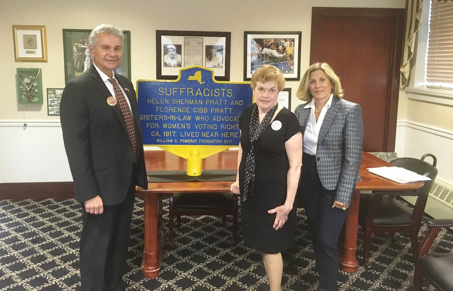 Mayor Reggie Spinello, founder of The Long Island Woman Suffrage Association Antonia Petrash and Councilwoman Pamela Panzenbeck spoke at the installation of a Women's Suffrage marker to honor the 100th anniversary of Women's right to vote in N.Y.