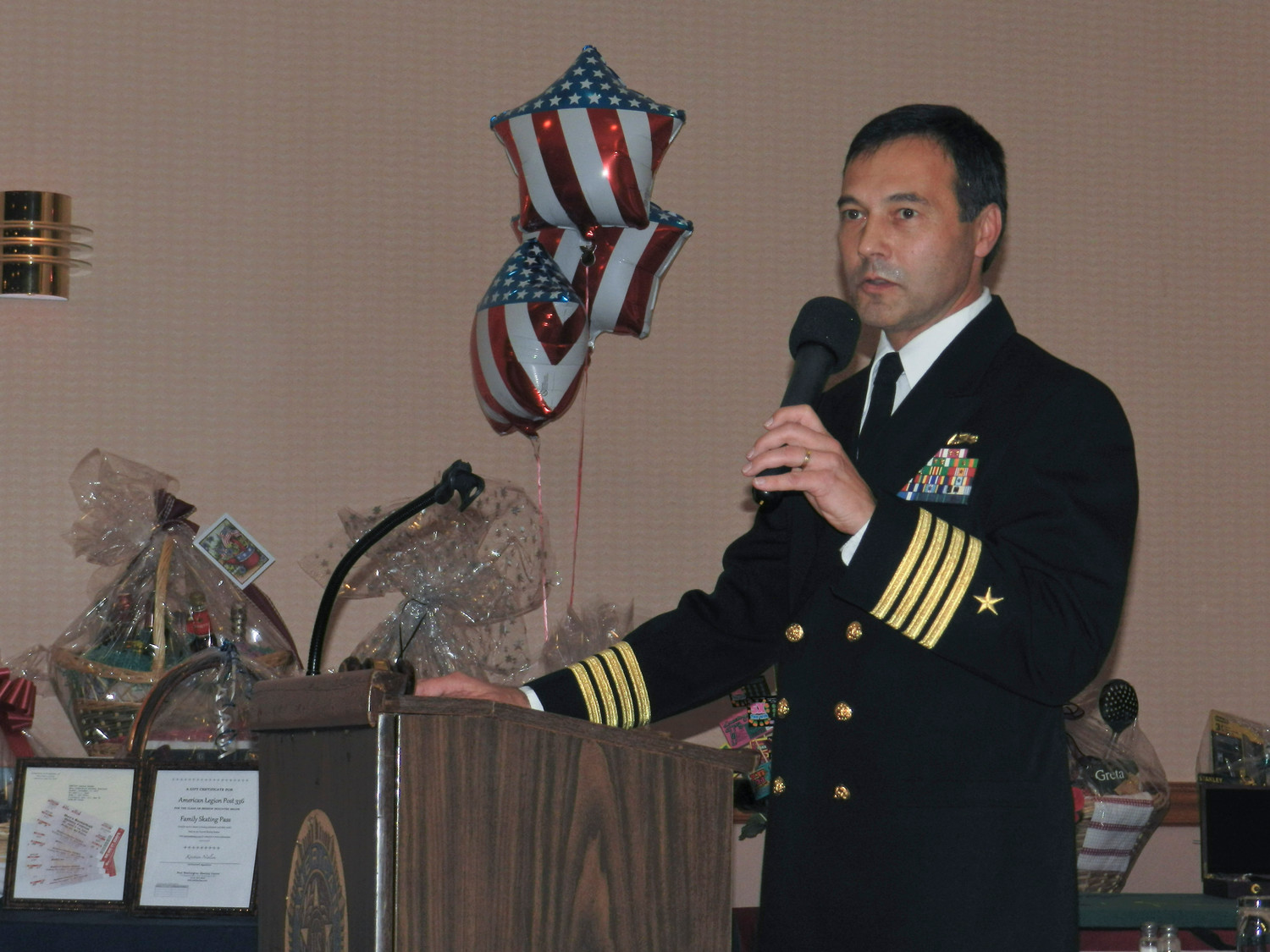 Retired Naval Captain Robert Bazan, a current member of American Legion Post 336, addressed attendants as the guest speaker.